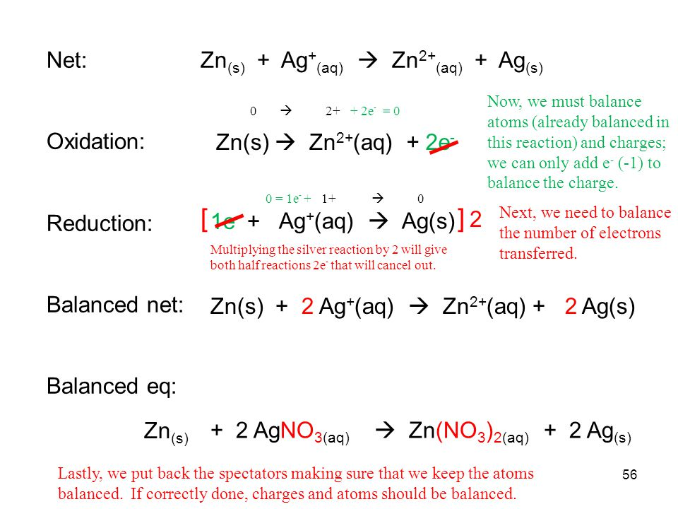 [ ] 2 Net: Zn(s) + Ag+(aq)  Zn2+(aq) + Ag(s) Oxidation: Reduction: